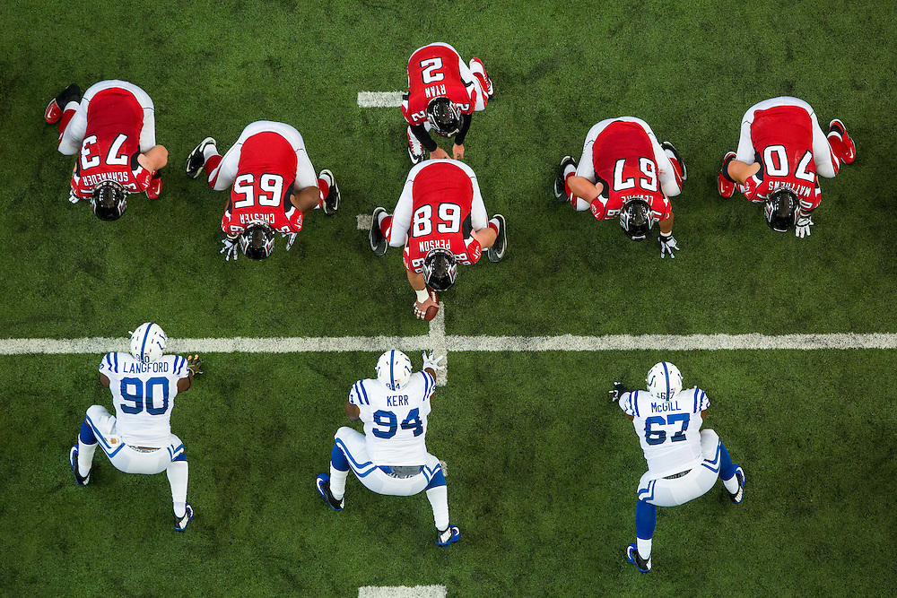 The Atlanta Falcons offensive line during the game between the Indianapolis Colts and the Atlanta Falcons on Sunday, Nov. 22, 2015 at the Georgia Dome. The Falcons lost 24-21, going to 6-4 on the season. Photo by Kevin D. Liles