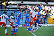 Peterborough United defender Ryan Tafazolli (5) gets in a header during the EFL Sky Bet League 1 match between Peterborough United and Blackpool at The Abax Stadium, Peterborough, England on 29 September 2018.