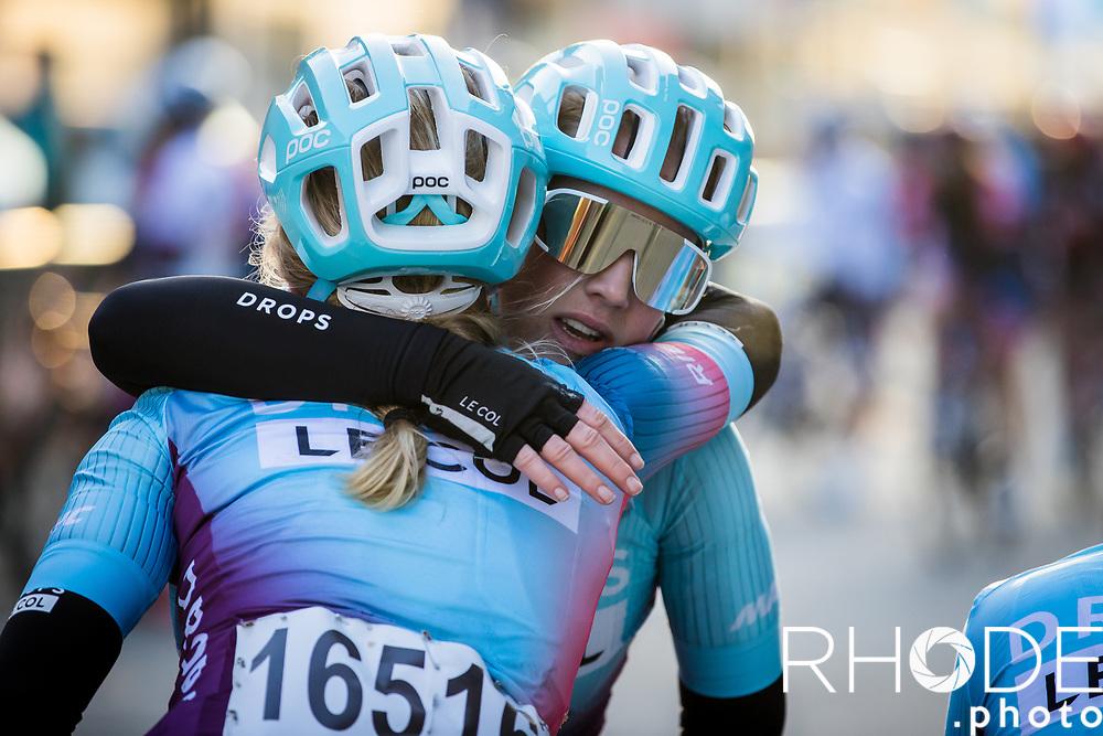 Post race hug: Marjolein van't Geloof (NED/Drops Le Col) and Maike van der Duin (NED/Drops Le Col)<br /> <br /> 13th Women's Omloop Het Nieuwsblad 2021 <br /> 1 Day Race: Gent – Ninove 124km<br /> <br /> ©Rhode.Photo
