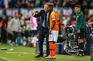 Netherlands Head Coach Ronald Koeman discusses what he wants substitute Netherlands forward Quincy Promes (Sevilla)  to do during the UEFA Nations League semi-final match between Netherlands and England at Estadio D. Afonso Henriques, Guimaraes, Portugal on 6 June 2019.