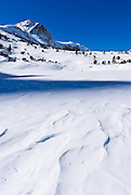 Loch Leven in winter under Piute Pass, Inyo National Forest, Sierra Nevada Mountains, California