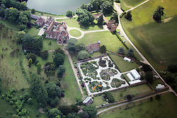 Image ©Licensed to i-Images Picture Agency. Aerial views. United Kingdom.<br /> LULLINGSTONE CASTLE WITH THE EARTH GARDENS FROM THE AIR. Picture by i-Images