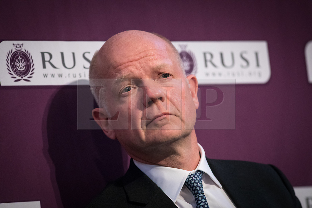 © Licensed to London News Pictures. 19/04/2017. London, UK. Lord William Hague of Richmond, Former Foreign Secretary and Chairman of RUSI speaks at The Royal United Services Institute (RUSI) panel discussion on aid, security and broader British national interests. Photo credit : Tom Nicholson/LNP