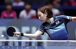 HALMSTAD, May 4, 2018  Yang Haeun of the combined team of the Democratic People's Republic of Korea (DPRK) and South Korea returns to Hirano Miu of Japan during their women's semifinal match at 2018 World Team Table Tennis Championships in Halmstad, Sweden, May 4, 2018. Yang Haeun lost with 1-3 and the combined team of the Democratic People's Republic of Korea (DPRK) and South Korea lost the match 0-3. (Credit Image: © Ye Pingfan/Xinhua via ZUMA Wire)
