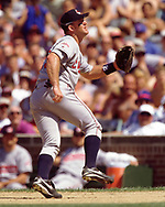 CHICAGO - 1998:  Jim Thome of the Cleveland Indians fields during an MLB game versus the Chicago Cubs at Wrigley Field in Chicago, Illinois during the 1998 season. (Photo by Ron Vesely) Subject:   Jim Thome