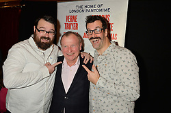 Left to right, JARRED CHRISTMAS, IAN TALBOT director of the panto and MARCUS BRIGSTOCKE at an after show party following the opening of Peter Pan at the New Wimbledon Theatre, 93 The Broadway, London on 8th December 2015.