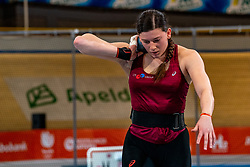 Alida van Daalen in action on shot put during limit matches to be held simultaneously with the Dutch Athletics Championships on 13 February 2021 in Apeldoorn