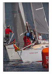 Racing at the Bell Lawrie Yachting Series in Tarbert Loch Fyne. Sunday racing was dominated by light winds...Mosika Alma GBR5400 rounds the leeward mark.