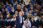 Golden State Warriors head coach Steve Kerr watches the Golden State Warriors take on the Charlotte Hornets at Oracle Arena in Oakland, Calif., on February 1, 2017. (Stan Olszewski/Special to S.F. Examiner)