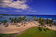 A hotel balcony view of the Hawaii coast; a warm sand beach filled with palm trees and blue water