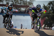 #101 (CAVALLI Agustina) ARG and#971 (VALENTINO Manon) FRA during practice at Round 9 of the 2019 UCI BMX Supercross World Cup in Santiago del Estero, Argentina