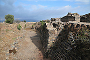 Israel, Jordan Valley, The remains of the 12th century Crusader fortress of Belvoir. The dry moat surrounding the fort