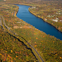 The Connecticut River in Holyoke and South Hadley, Massachusetts.  Interstate 91 parallels the river.