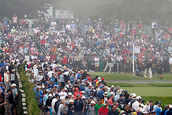 June 12, 2019 - Pebble Beach, CA, U.S. - PEBBLE BEACH, CA - JUNE 12: Fans gather to watch Tiger Woods play the 17th hole during a practice round for the 2019 US Open on June 12, 2019, at Pebble Beach Golf Links in Pebble Beach, CA. (Photo by Brian Spurlock/Icon Sportswire) (Credit Image: © Brian Spurlock/Icon SMI via ZUMA Press)