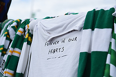 Tributes surround the statue of Celtic legend Billy McNeil , Glasgow, 4 May 2019