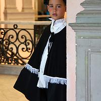 Central America, Cuba, Santa Clara. Young Cuban actor in costume.
