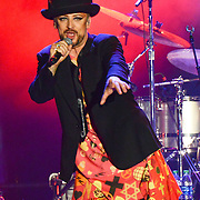 BETHLEHEM, PA - AUGUST 08:  Vocalist Boy George of Culture Club performs at Sands Steel Stage at PNC Plaza on August 8, 2015 in Bethlehem, Pennsylvania.  (Photo by Lisa Lake/Getty Images)