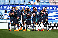 Thomas Ince of Derby County (2nd from right) celebrates with his teammates after scoring his teams 1st goal. Skybet football league championship match, Huddersfield Town v Derby county at the John Smith's stadium in Huddersfield, Yorkshire on Saturday 18th April 2015.<br /> pic by Chris Stading, Andrew Orchard sports photography.
