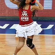 Anadolu Efes's show girls during their Turkish Basketball League match Anadolu Efes between Olin Edirne at Arena in Istanbul, Turkey, Saturday, February 11, 2012. Photo by TURKPIX