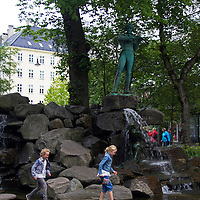 Europe, Norway, Bergen. Water Sculpture in Bergen.