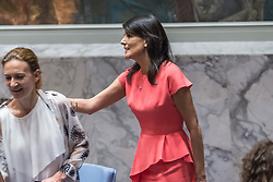 August 5, 2017 - New York, NY, United States - U.S. Ambassador to the UN Nikki Haley is arriving at the Security Council meeting. The United Nations Security Council convened an emergency meeting to consider new sanctions against North Korea following the nation's July 3 and July 28 tests of intercontinental ballistic missiles.  At the meeting, the council adopted Resolution 2371 which imposes a full ban on North Korea's exportation of iron, coal, lead and all seafood products with the anticipated result of a nearly one-billion dollar impact on North Korea's economy. (Credit Image: © Albin Lohr-Jones/Pacific Press via ZUMA Wire)