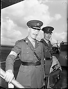 10/08/1960<br /> 08/10/1960<br /> 10 August 1960<br /> Two Irish army officers appointed to the staff of General Carl Carlsson von Horn, Commander of the United Nations forces in the Congo. Colonel Harry W. Byrne, (formerly o/c 1st Brigade, Cork) appointed as Brigade Commander of the 32nd and 33rd Infantry battalions in the Congo and Comandant. Eamonn Doyle, member of the Signal Corps appointed to the operations staff of General von Horn. Picture shows: Col. H.W. Byrne and Comdt. Eamonn Doyle about to depart from Dublin Airport.