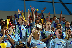 Fans of Slovenia at  handball game between men national teams of Slovenia and Slovakia, first qualification game for the World Chamionship 2009, on June 7, 2008, in Arena Zlatorog, Celje, Slovenija. Result: 33 : 33. (Photo by Vid Ponikvar / Sportal Images)