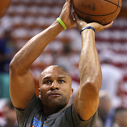 Jun 17, 2012; Miam, FL, USA; Oklahoma City Thunder point guard Derek Fisher (37) warms up before game three in the 2012 NBA Finals against the Miami Heat at the American Airlines Arena. Mandatory Credit: Derick E. Hingle-US PRESSWIRE