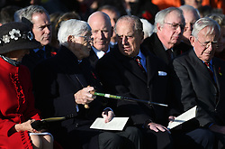 The Duke of Edinburgh (front second right) with Guinea Pig Club member Dr Sandy Saunders (second left) at the National Memorial Arboretum in Staffordshire where he is dedicating a memorial to the Guinea Pig Club, formed in 1941 by men being treated for burns at a hospital in Sussex, as well as meeting with surviving members of the club and their guests.