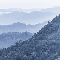The primary forests of Kaeng Krachan National Park, Thailand at dusk.  Thailand's largest national park.
