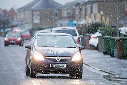 © Licensed to London News Pictures. 04/12/2020. Peterborough, UK. A downpour of snow in the city of Peterborough, Cambridgeshire as the south of England experiences snowfall for the first time this winter. Photo credit: Ben Cawthra/LNP