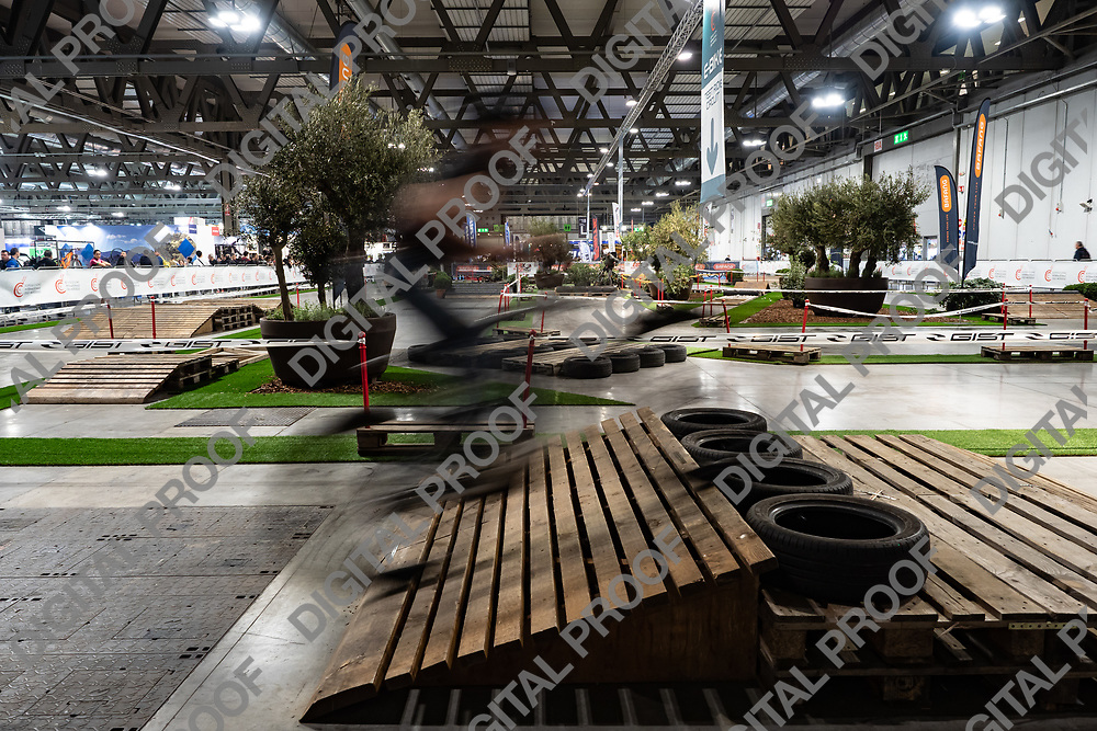 RHO Fieramilano, Milan Italy - November 07, 2019 EICMA Expo. Biker in movement jump a ramp in the test circuit at EICMA 2019