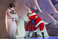 30/11/2011. London, UK. London's favourite family Christmas show based on Raymond Briggs' book The Snowman and featuring Howard Blake's much-loved score returns to the West End's Peacock Theatre for a record-breaking 14th consecutive year. Picture shows James Leece as the Snowman, Charlie Salsen as The Boy &Matthew Graham as Father Christmas. Photo credit : Tony Nandi/LNP