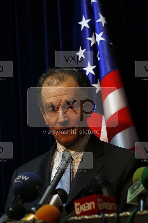 """American diplomat and Assistant Secretary of State for European and Eurasian Affairs Daniel Fried congratulated Kosovo's people and leadership for the management of the tensions with Serbia last month and reconfirmed the determination of US for protecting the territorial integrity of Kosovo and the integration of Kosovo in EU.<br /> Fried in both meetings with Kosovo's President Fatmir Sejdiu and Prime Minister Hashim Thaci re-highlighted that Kosovo's integrity is unique and inseparable """"United States of America (USA) will not tolerate Kosovo's partition"""" he said during a press conference on Friday, March 7, 2008. (Photo/ Vudi Xhymshiti)"""