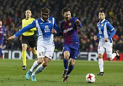 Enero 25, 2018 - Barcelona, Barcelona, Spain ..(15) David López (centrocampista) y (10) Messi (delantero)..Partido de Copa del Rei entre el FC Barcelona y el RCD Espanyol disputado en el Camp Nou.  El partido ha finalizado 2-0 y el FC Barcelona ha pasado la eliminatoria con goles de Suárez y Messi...(14) Coutinho (centrocampista) ha debutado en la segunda mitad. (Credit Image: © Joan Gosa/Xinhua via ZUMA Wire)