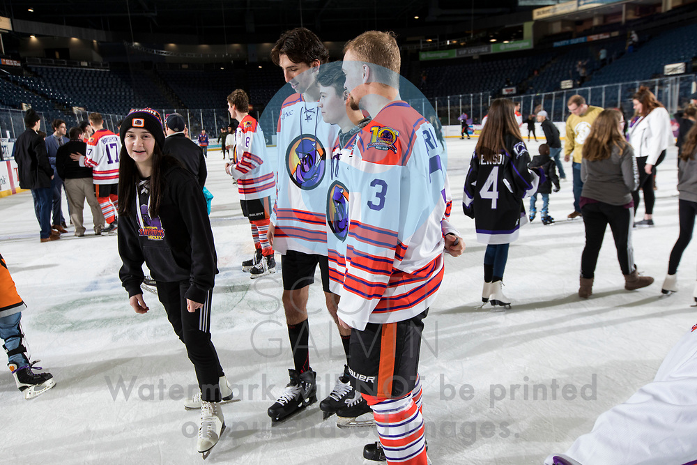 Youngstown Phantoms win 5-3 against the Tri-City Storm at the Covelli Centre on January 18, 2020.<br /> <br /> Jan Kern, forward, 3; Ben Schoen, forward, 19; Dominic Basse, goalie, 22