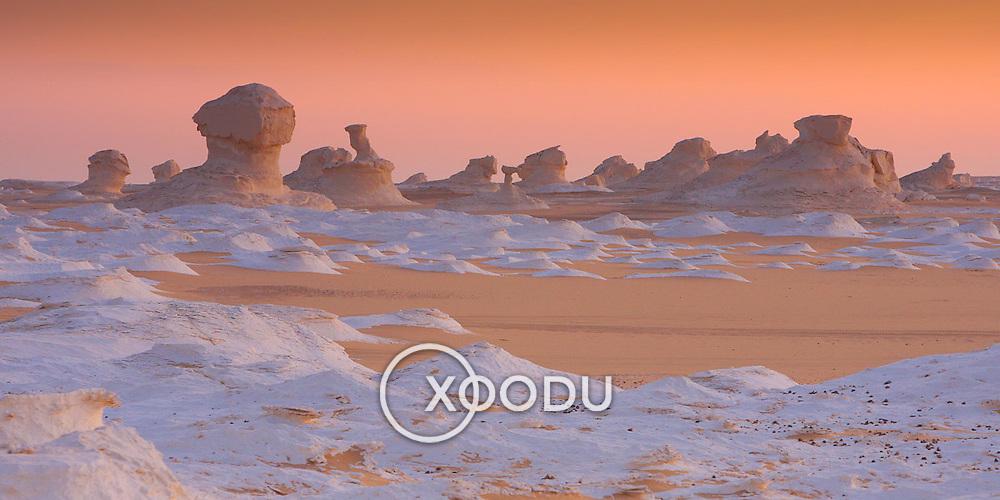 White Desert rock formations by dusk, Egypt (January 2008)