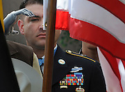 pvc080111d/8-1-11/north.  Santa Fe native and Medal of Honor recipient US Army Sergeant First Class Leroy Petry (CQ) salutes the American Flag during a ceremony at the Santa Fe Convention Center, photographed Monday Aug. 1, 2011.  (Pat Vasquez-Cunningham/Journal)