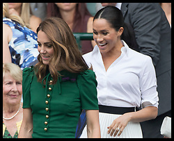 July 13, 2019 - London, London, United Kingdom - Image licensed to i-Images Picture Agency. 13/07/2019. London, United Kingdom. Kate Middleton, the Duchess of Cambridge and Meghan Markle, the Duchess of Sussex n arriving in the Royal Box for the Ladies Final on day twelve of the Wimbledon Tennis Championships in London. (Credit Image: © Stephen Lock/i-Images via ZUMA Press)