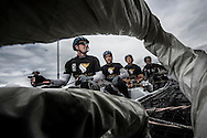 Image licensed to Lloyd Images.<br /> The Extreme Sailing Series 2015. Act 4 - Cardiff. UK<br /> Oman Air skippered by Stevie Morrison (GBR) and crewed by Nic Asher (GBR), Ed Powys (GBR), Ted Hackney (AUS) and Ali Al Balashi (OMA).<br /> Credit: Lloyd Images