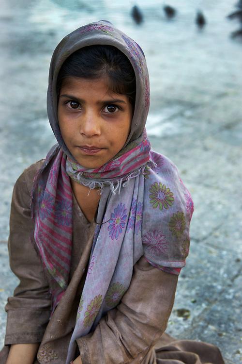 Muslim girl at the Shah Hamdan Shrine, Srinagar, Kashmir
