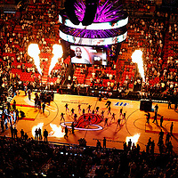27 January 2012: Miami Heat players introduction prior to the Miami Heat 99-89 victory over the New York Knicks at the AmericanAirlines Arena, Miami, Florida, USA. NOTE TO USER: User expressly acknowledges and agrees that, by downloading and or using this photograph, User is consenting to the terms and conditions of the Getty Images License Agreement. Mandatory Credit: 2012 NBAE (Photo by Chris Elise/NBAE via Getty Images)