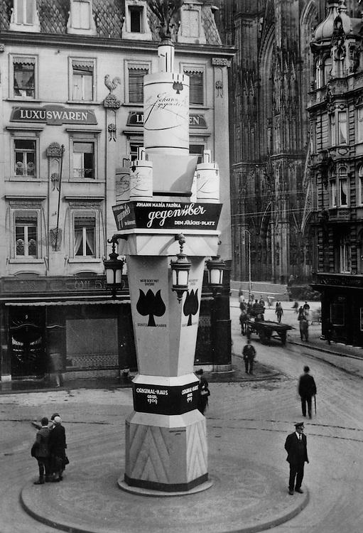 Advertising Sign for Eau de Cologne, Cathedral in Background, Wallrafplatz, Cologne, 1928