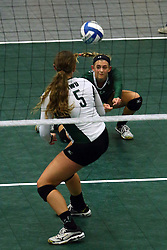 28 October 2016:  Kyleigh Block passes to Tyler Brown during an NCAA womens division 3 Volleyball match between the DePauw Tigers and the Illinois Wesleyan Titans in Shirk Center, Bloomington IL