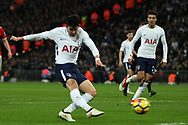 Son Heung-min of Tottenham Hotspur takes a shot at goal. Premier league match, Tottenham Hotspur v Manchester Utd at Wembley Stadium in London on Wednesday 31st January 2018.<br /> pic by Steffan Bowen, Andrew Orchard sports photography.