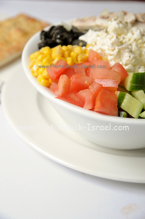 Fresh vegetable salad feta cheese and corn