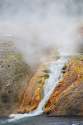 Excelsior Falls at Excelsior Geyser in Yellowstone National Park