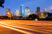 View of Downtown Houston city, Texas in a beautiful day at night