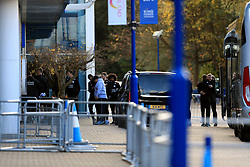 Leicester City players arrives at the King Power Stadium, club Chairman, Vichai Srivaddhanaprabha was among those to have tragically lost their lives on Saturday evening when a helicopter carrying him and four other people crashed outside King Power Stadium.