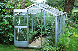 A simple traditional aluminium greenhouse housing vegetables